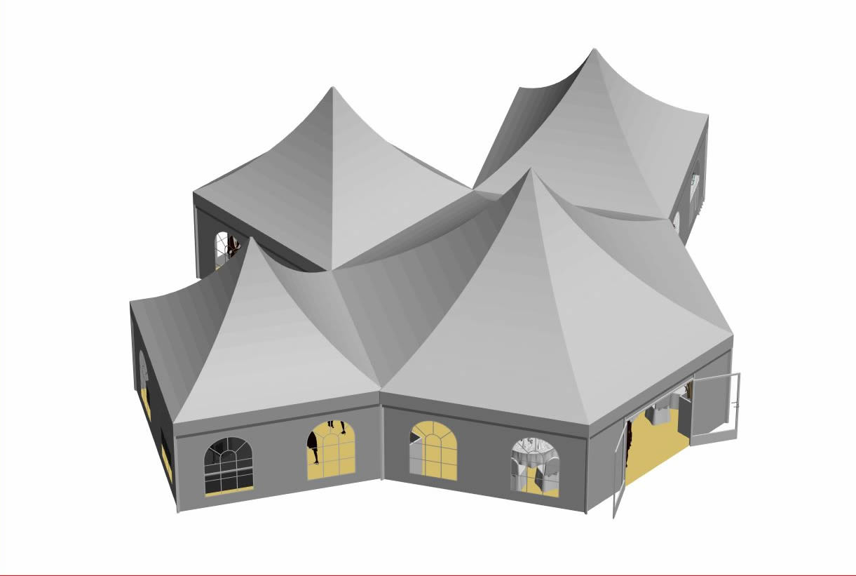 Zeltentwurf 3D Gesamtansicht