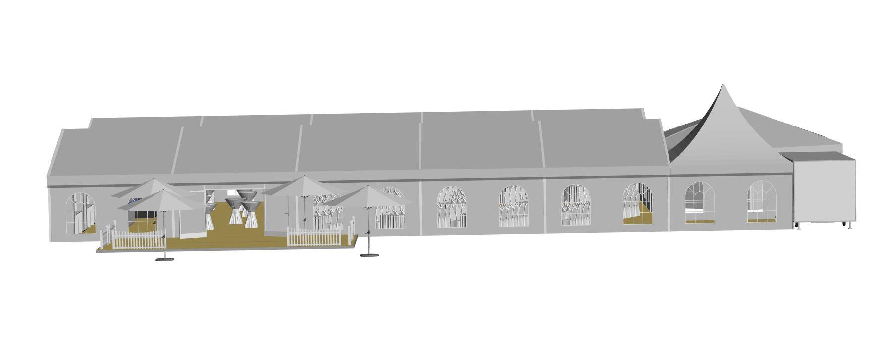2 Zelte 10x30m Sechseck Bueffetzelt Pagode zum Toilettenwagen Zeltdach-zu