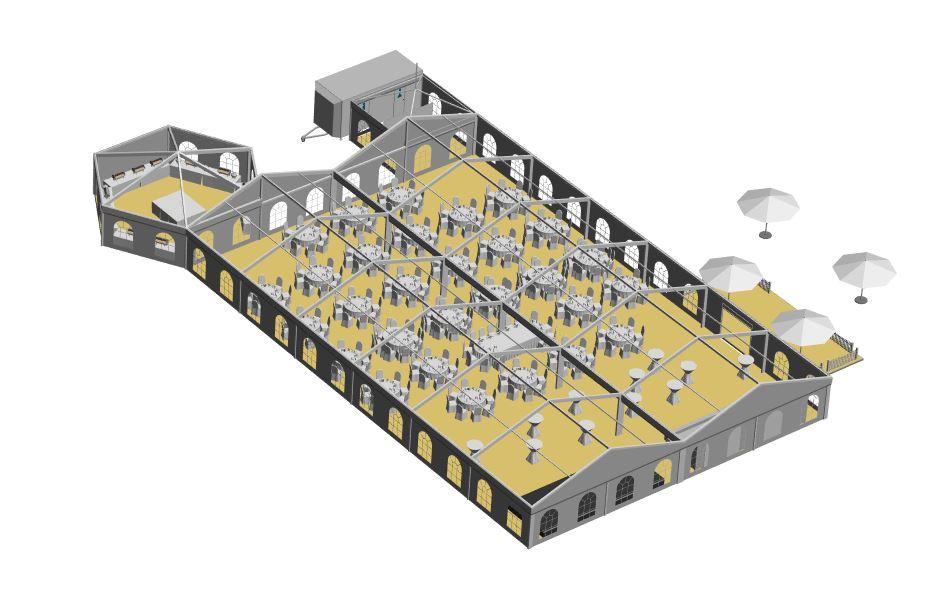 2 Zelte 10x30m Sechseck Büffetzelt Pagode zum Toilettenwagen runde Tische
