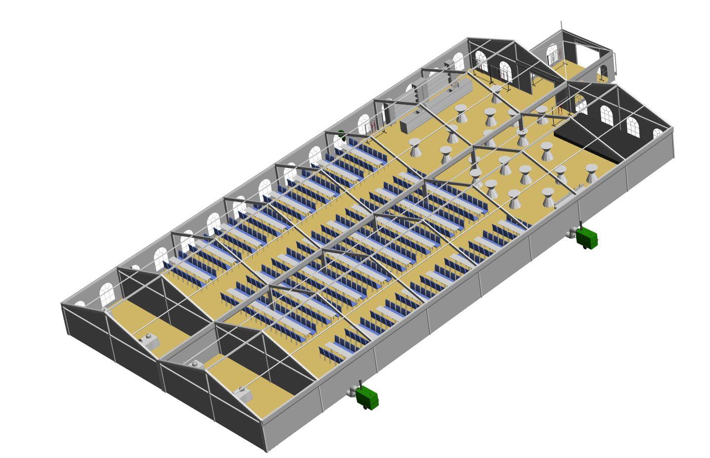2-Zelte-10-x-40-m zusammengebaut auf-20-x-40-m mit-jeweils-abgetrennten Giebel für-Büffetbereich