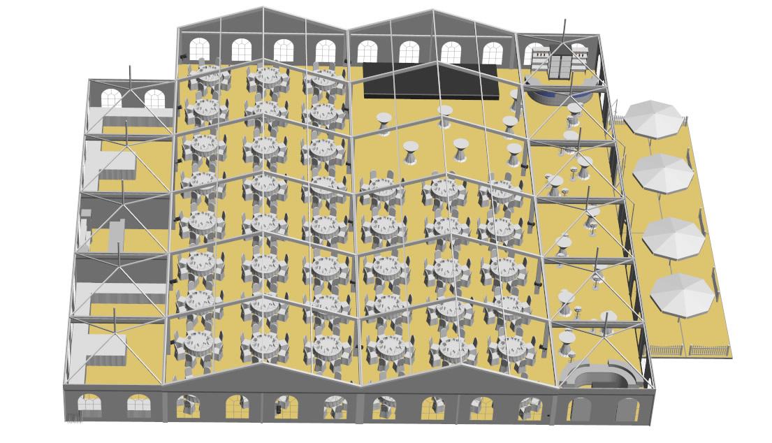 2 Zelte 10x30m-mit 11 Pagoden Aussenterrasse