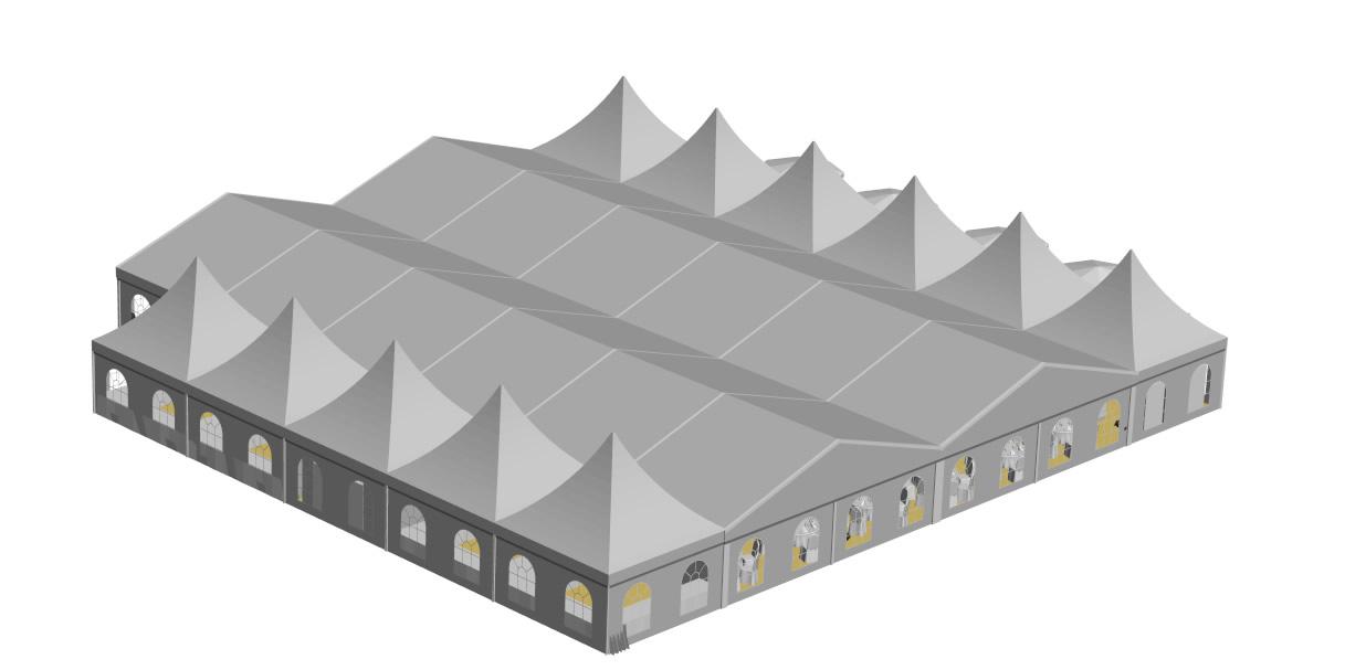 Zelt 10x30m mit11 Pagoden Aussenterrasse geschlossenes Dach
