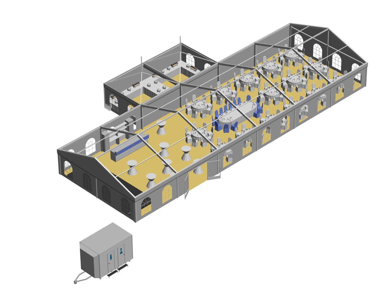Zelt 10x30m mit 2 Pagoden Büffetzelt und Toilettenwagen.