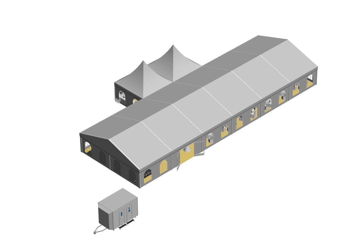Zelt 10x30 m mit 2 Pagoden Büffetzelt, geschlossenes Dach