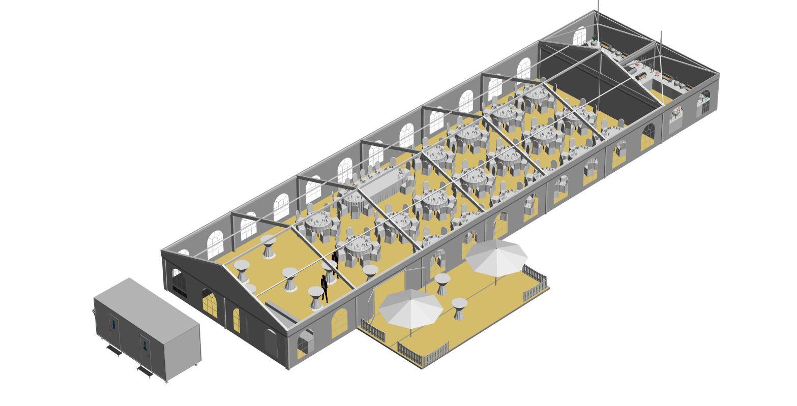 Zelt 10x30 m mit Außenterrasse und 2 Pagoden